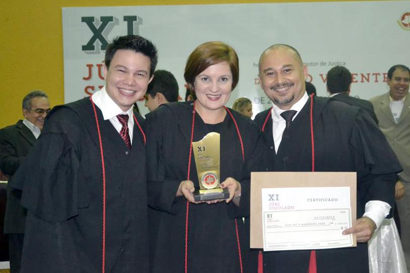 Vencedores do 11° Júri Simulado MPE - Felipe Braga, Alessandra Seriacopi e Ramakris Elossondres